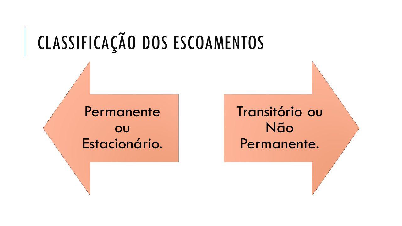CLASSIFICAÇÃO DOS ESCOAMENTOS Permanente ou Estacionário. Transitório ou Não Permanente.