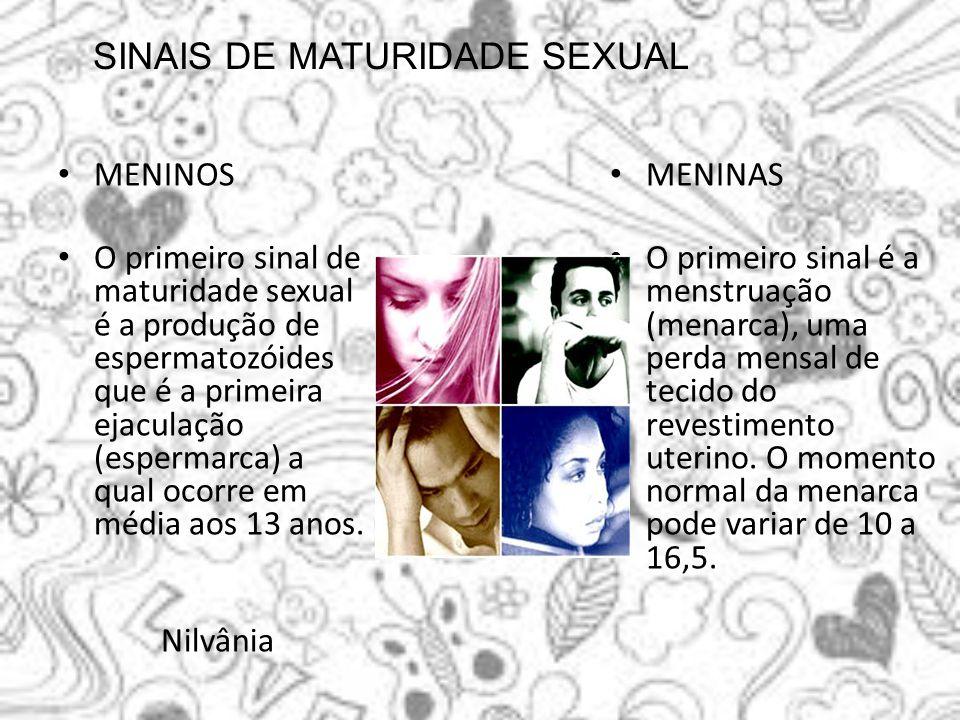 SINAIS DE MATURIDADE SEXUAL MENINOS O primeiro sinal de maturidade sexual é a produção de espermatozóides que é a primeira ejaculação (espermarca) a q
