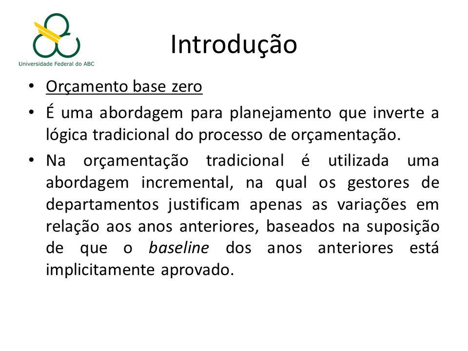 Introdução Orçamento base zero É uma abordagem para planejamento que inverte a lógica tradicional do processo de orçamentação.