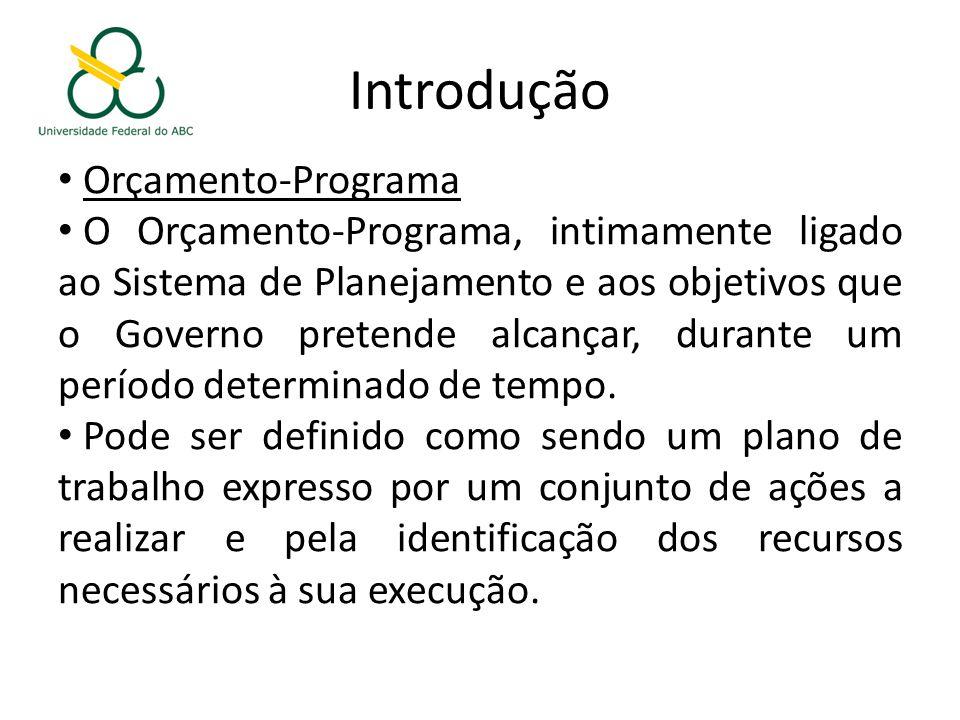 Introdução Orçamento-Programa O Orçamento-Programa, intimamente ligado ao Sistema de Planejamento e aos objetivos que o Governo pretende alcançar, durante um período determinado de tempo.