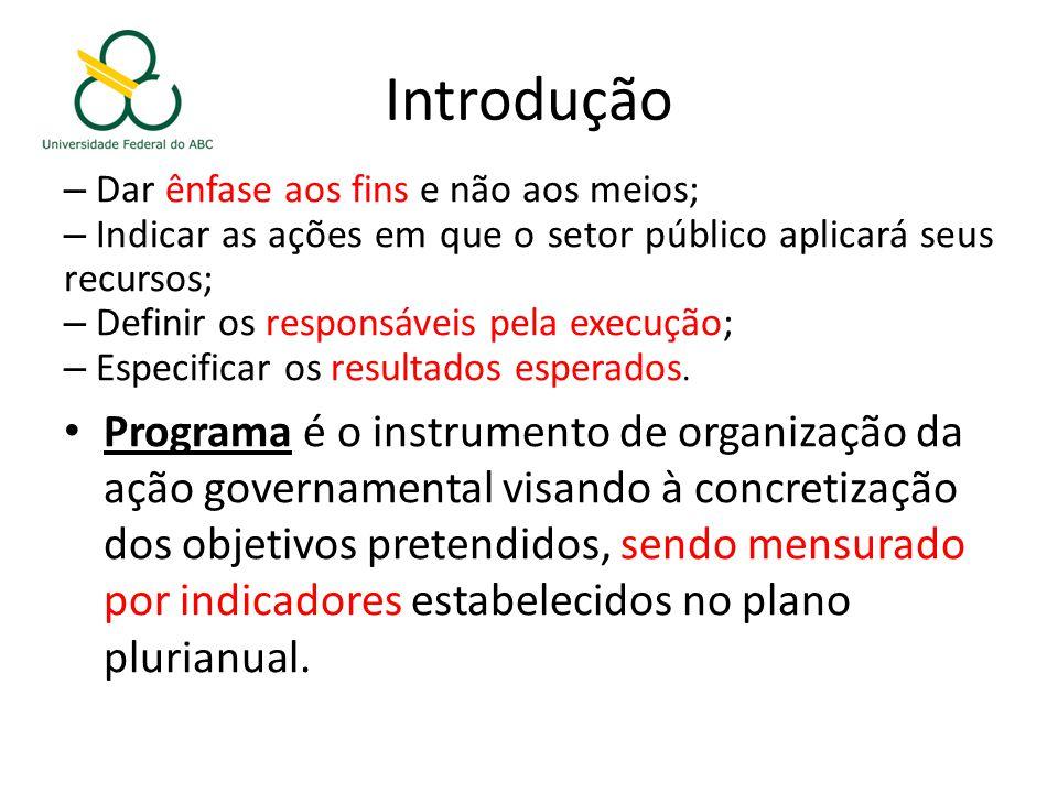 Introdução – Dar ênfase aos fins e não aos meios; – Indicar as ações em que o setor público aplicará seus recursos; – Definir os responsáveis pela execução; – Especificar os resultados esperados.