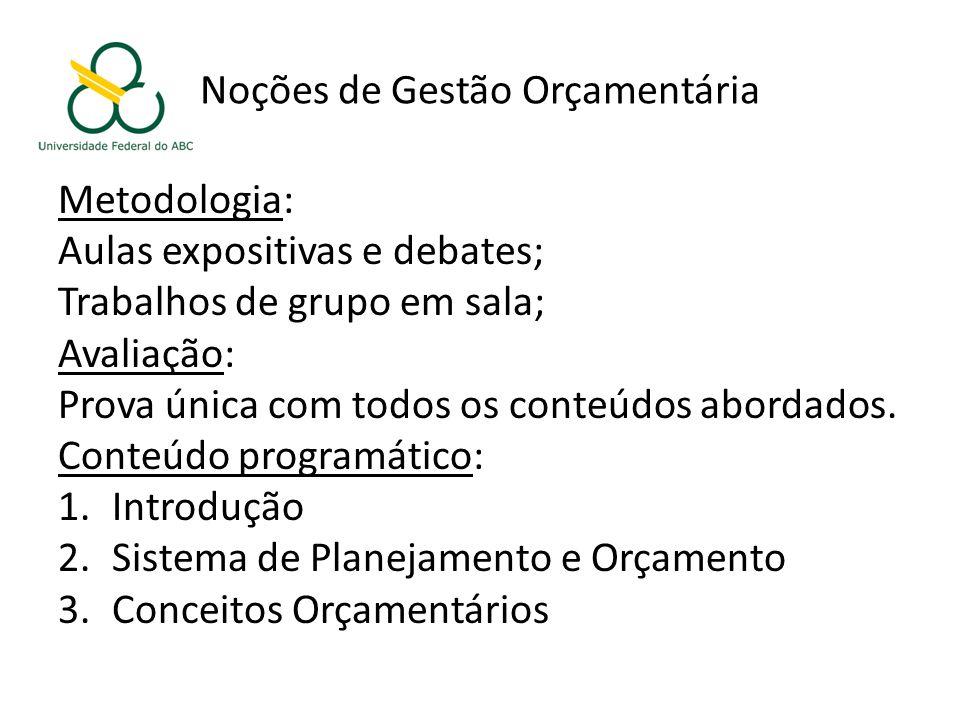 Noções de Gestão Orçamentária Metodologia: Aulas expositivas e debates; Trabalhos de grupo em sala; Avaliação: Prova única com todos os conteúdos abordados.