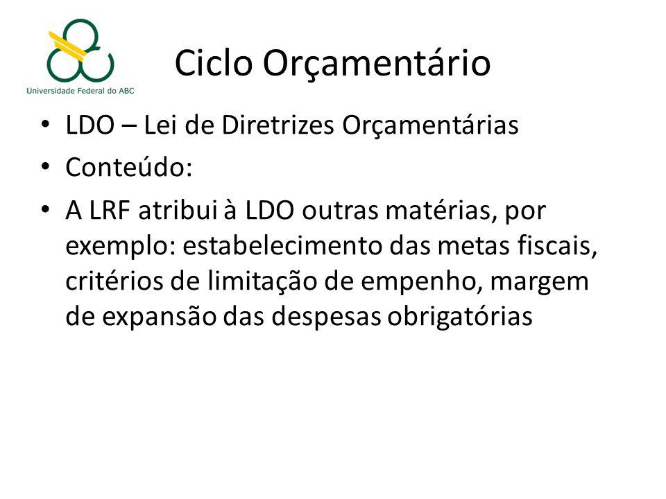 Ciclo Orçamentário LDO – Lei de Diretrizes Orçamentárias Conteúdo: A LRF atribui à LDO outras matérias, por exemplo: estabelecimento das metas fiscais, critérios de limitação de empenho, margem de expansão das despesas obrigatórias