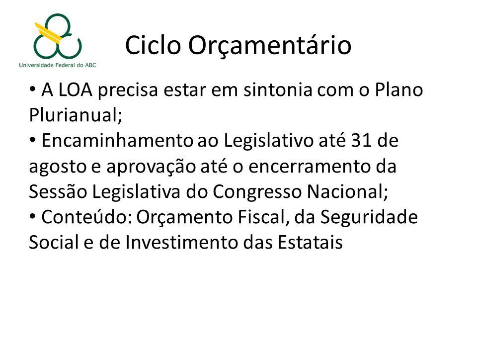 Ciclo Orçamentário A LOA precisa estar em sintonia com o Plano Plurianual; Encaminhamento ao Legislativo até 31 de agosto e aprovação até o encerramento da Sessão Legislativa do Congresso Nacional; Conteúdo: Orçamento Fiscal, da Seguridade Social e de Investimento das Estatais