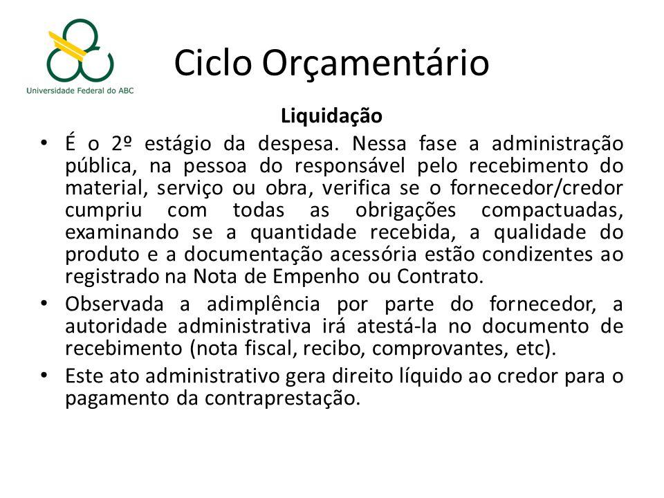 Ciclo Orçamentário Liquidação É o 2º estágio da despesa.