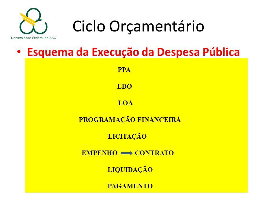 Esquema da Execução da Despesa Pública PPA LDO LOA PROGRAMAÇÃO FINANCEIRA LICITAÇÃO EMPENHO CONTRATO LIQUIDAÇÃO PAGAMENTO