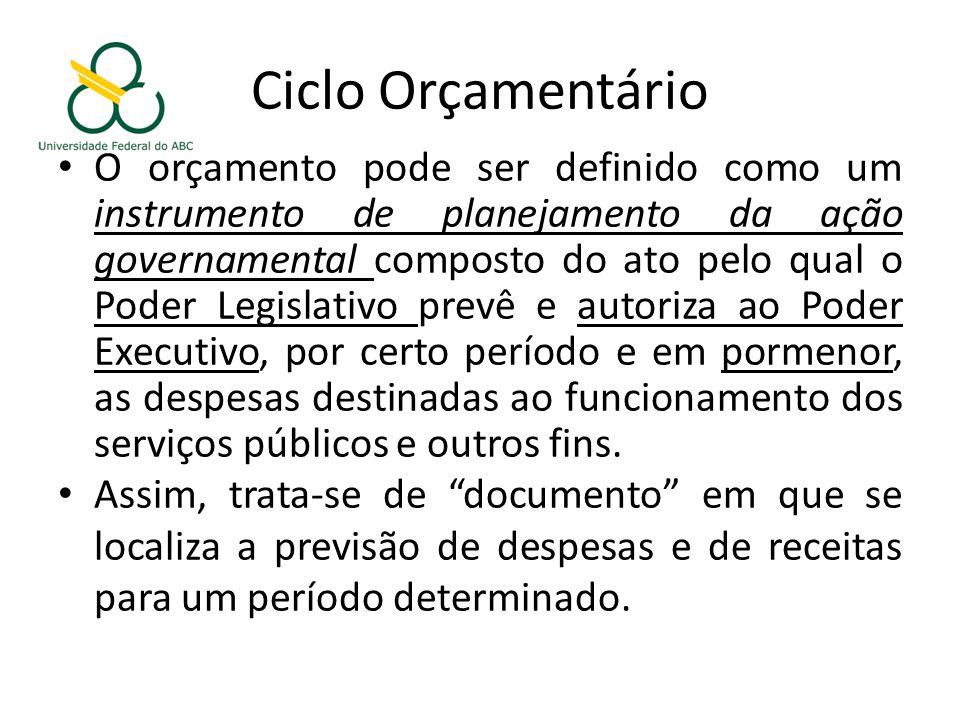 Ciclo Orçamentário O orçamento pode ser definido como um instrumento de planejamento da ação governamental composto do ato pelo qual o Poder Legislativo prevê e autoriza ao Poder Executivo, por certo período e em pormenor, as despesas destinadas ao funcionamento dos serviços públicos e outros fins.