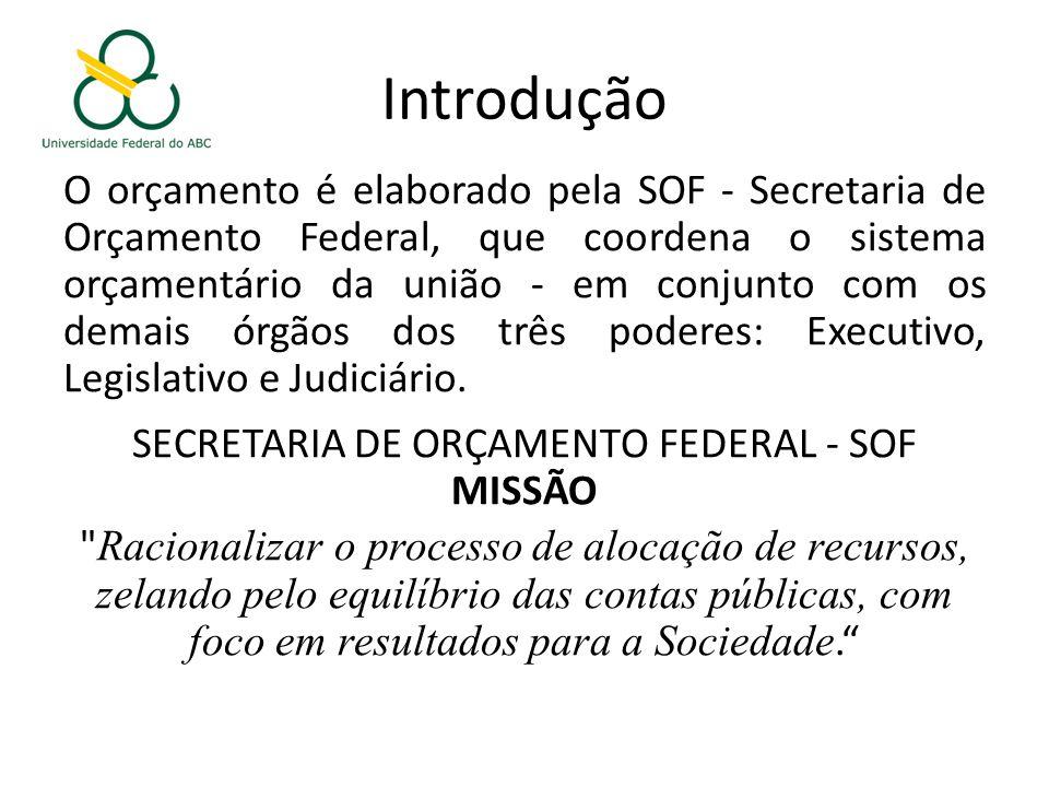 Introdução O orçamento é elaborado pela SOF - Secretaria de Orçamento Federal, que coordena o sistema orçamentário da união - em conjunto com os demais órgãos dos três poderes: Executivo, Legislativo e Judiciário.
