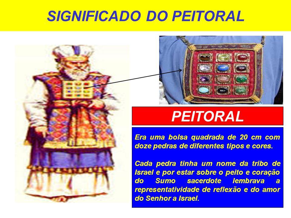 SIGNIFICADO DO PEITORAL Era uma bolsa quadrada de 20 cm com doze pedras de diferentes tipos e cores.