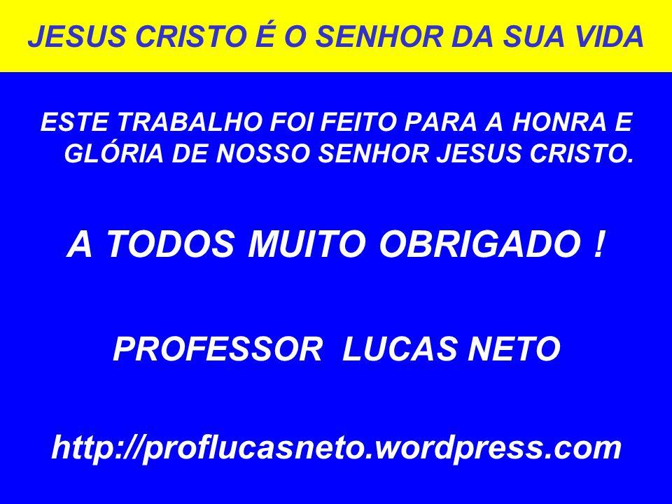 JESUS CRISTO É O SENHOR DA SUA VIDA ESTE TRABALHO FOI FEITO PARA A HONRA E GLÓRIA DE NOSSO SENHOR JESUS CRISTO.