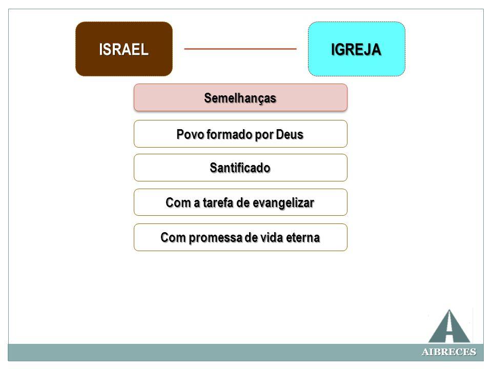 AIBRECES ISRAELIGREJA SemelhançasSemelhanças Povo formado por Deus Santificado Com a tarefa de evangelizar Com promessa de vida eterna