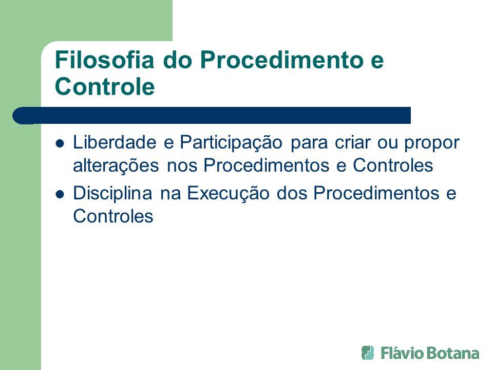 Filosofia do Procedimento e Controle Liberdade e Participação para criar ou propor alterações nos Procedimentos e Controles Disciplina na Execução dos
