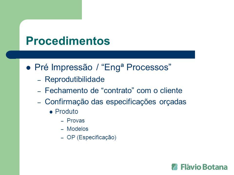 Procedimentos Pré Impressão / Engª Processos – Reprodutibilidade – Fechamento de contrato com o cliente – Confirmação das especificações orçadas Produ