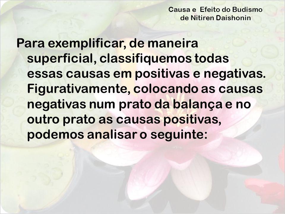 Causa e Efeito do Budismo de Nitiren Daishonin Para exemplificar, de maneira superficial, classifiquemos todas essas causas em positivas e negativas.