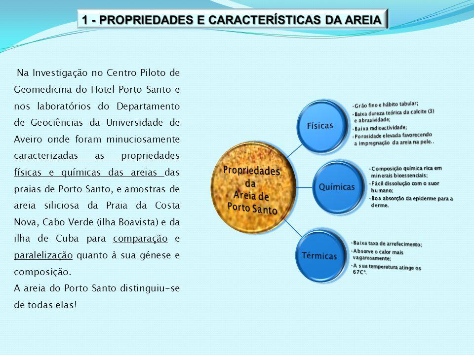 Na Investigação no Centro Piloto de Geomedicina do Hotel Porto Santo e nos laboratórios do Departamento de Geociências da Universidade de Aveiro onde