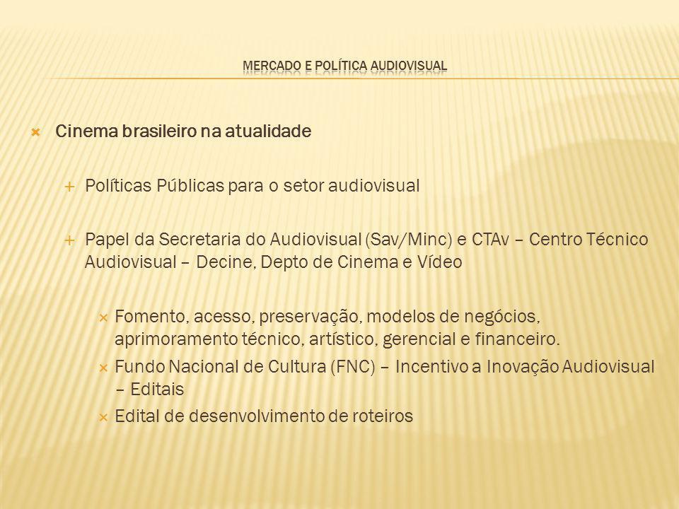 Cinema brasileiro na atualidade Políticas Públicas para o setor audiovisual Papel da Secretaria do Audiovisual (Sav/Minc) e CTAv – Centro Técnico Audi