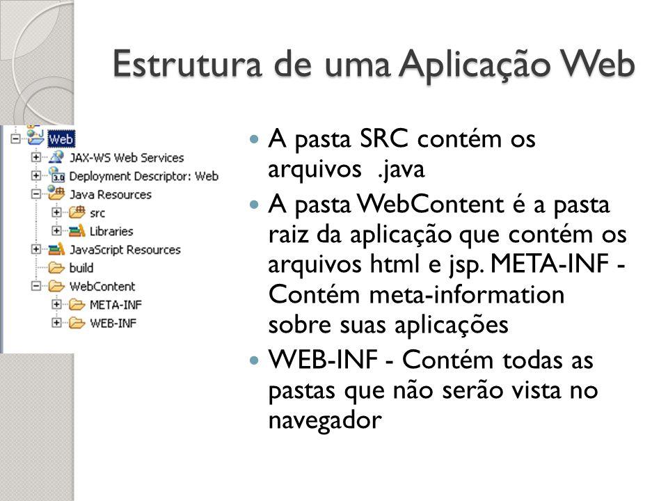 Estrutura de uma Aplicação Web A pasta SRC contém os arquivos.java A pasta WebContent é a pasta raiz da aplicação que contém os arquivos html e jsp.