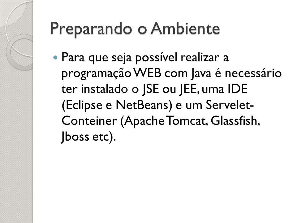 Preparando o Ambiente Para que seja possível realizar a programação WEB com Java é necessário ter instalado o JSE ou JEE, uma IDE (Eclipse e NetBeans) e um Servelet- Conteiner (Apache Tomcat, Glassfish, Jboss etc).