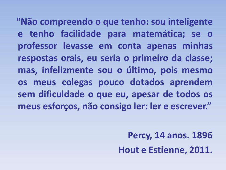 Não compreendo o que tenho: sou inteligente e tenho facilidade para matemática; se o professor levasse em conta apenas minhas respostas orais, eu seri