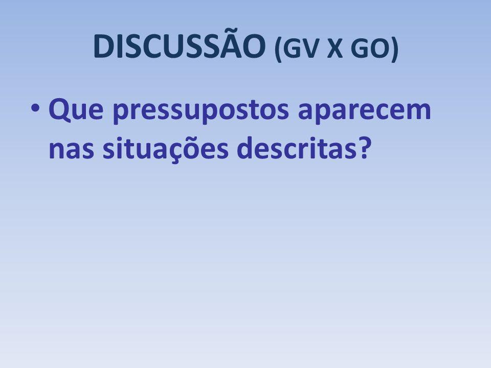 DISCUSSÃO (GV X GO) Que pressupostos aparecem nas situações descritas?