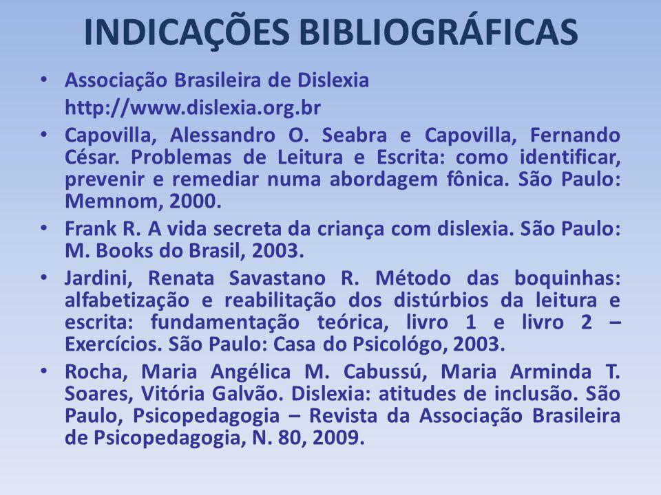 INDICAÇÕES BIBLIOGRÁFICAS Associação Brasileira de Dislexia http://www.dislexia.org.br Capovilla, Alessandro O. Seabra e Capovilla, Fernando César. Pr