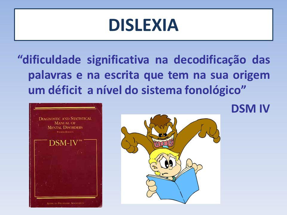 DISLEXIA dificuldade significativa na decodificação das palavras e na escrita que tem na sua origem um déficit a nível do sistema fonológico DSM IV