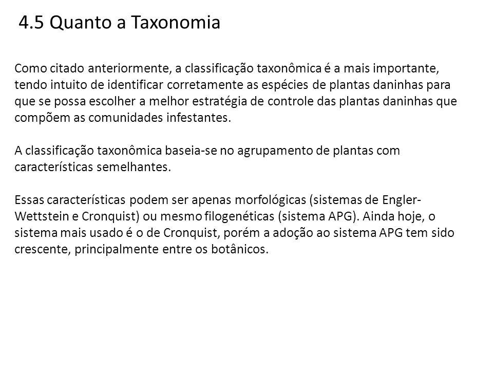 4.5 Quanto a Taxonomia Como citado anteriormente, a classificação taxonômica é a mais importante, tendo intuito de identificar corretamente as espécie