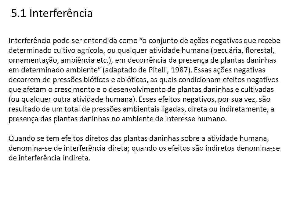 5.1 Interferência Interferência pode ser entendida como o conjunto de ações negativas que recebe determinado cultivo agrícola, ou qualquer atividade h