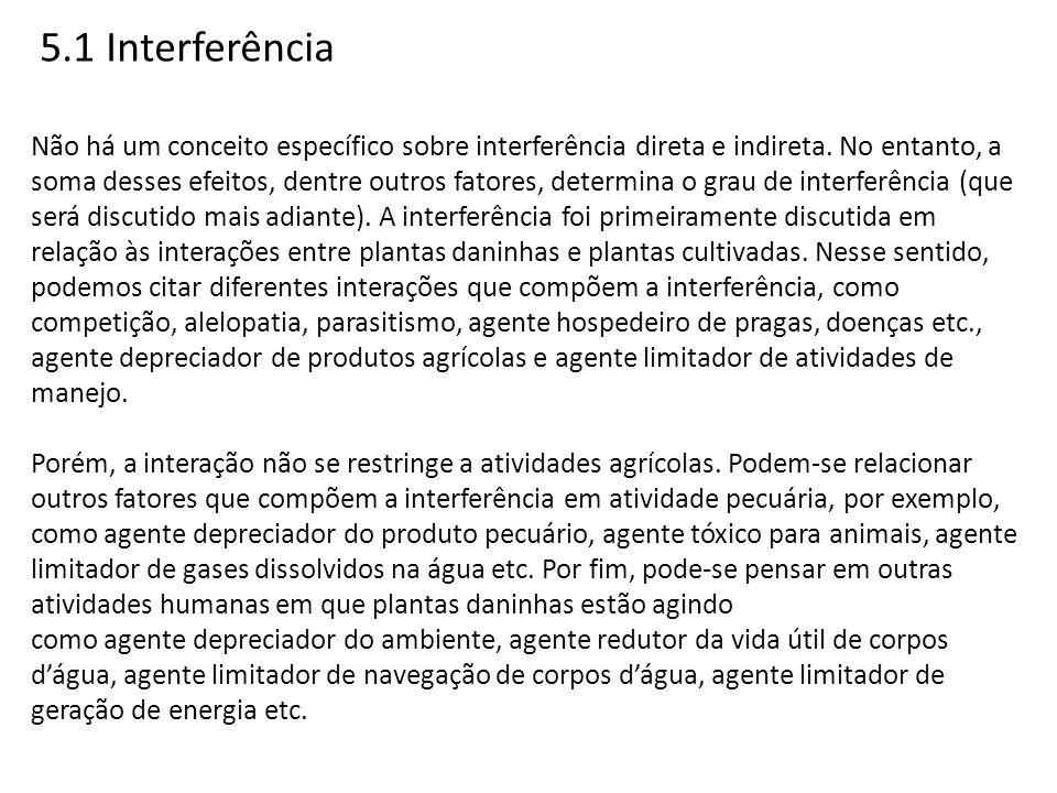 5.1 Interferência Não há um conceito específico sobre interferência direta e indireta. No entanto, a soma desses efeitos, dentre outros fatores, deter