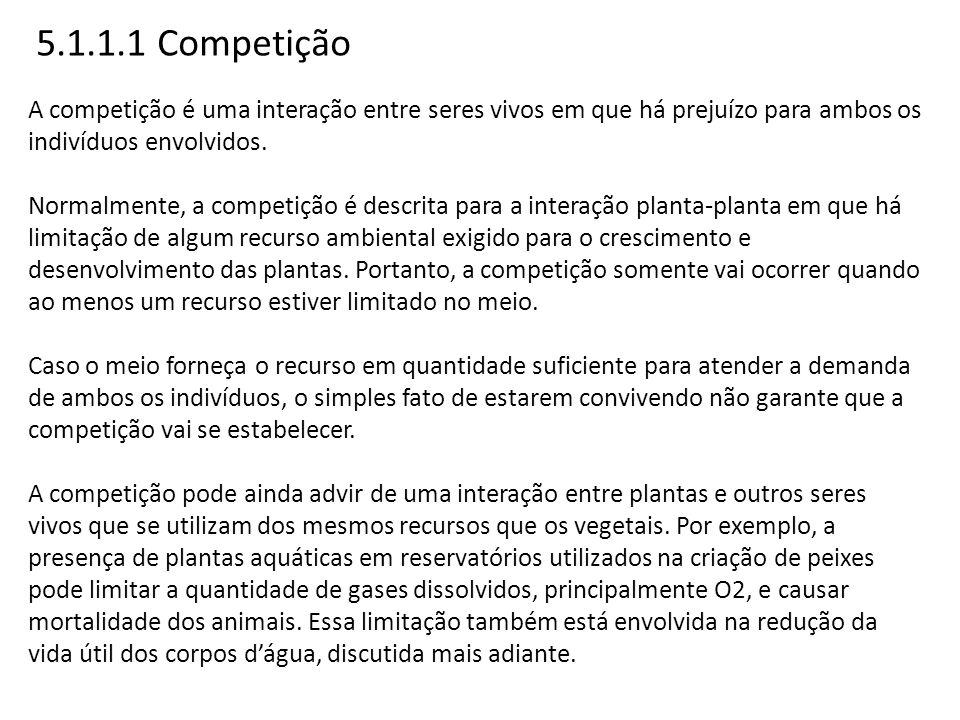 5.1.1.1 Competição A competição é uma interação entre seres vivos em que há prejuízo para ambos os indivíduos envolvidos. Normalmente, a competição é