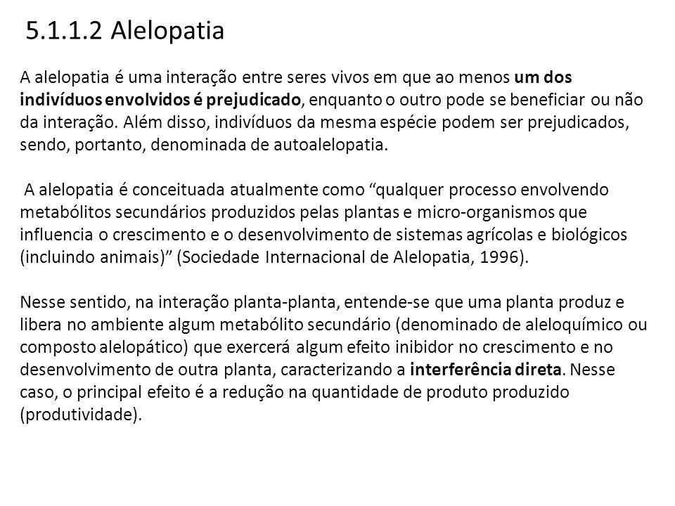 5.1.1.2 Alelopatia A alelopatia é uma interação entre seres vivos em que ao menos um dos indivíduos envolvidos é prejudicado, enquanto o outro pode se