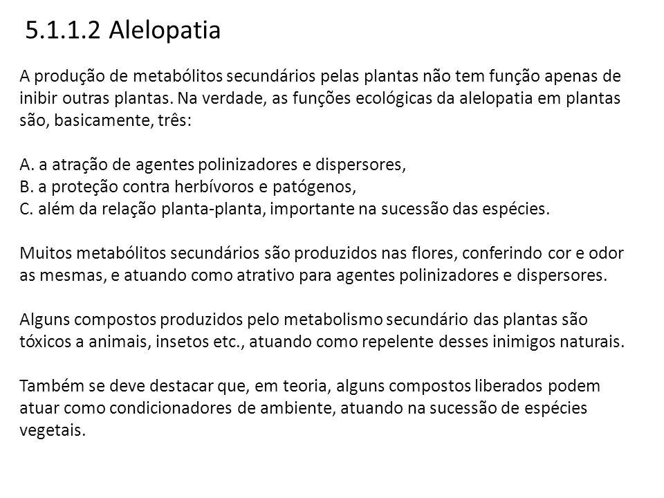 5.1.1.2 Alelopatia A produção de metabólitos secundários pelas plantas não tem função apenas de inibir outras plantas. Na verdade, as funções ecológic