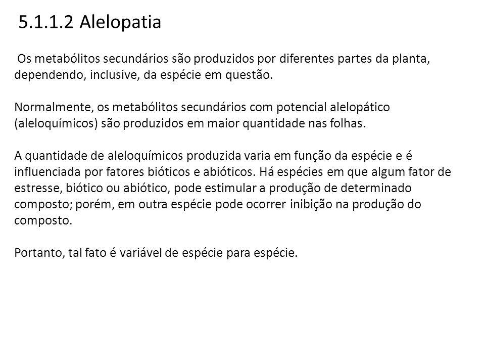 5.1.1.2 Alelopatia Os metabólitos secundários são produzidos por diferentes partes da planta, dependendo, inclusive, da espécie em questão. Normalment