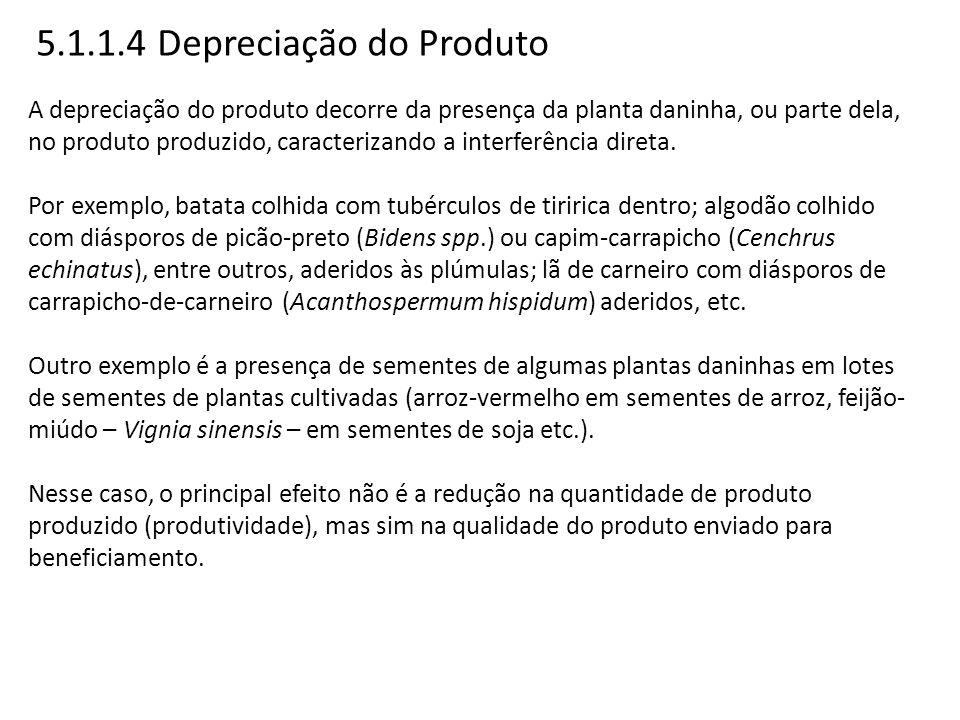5.1.1.4 Depreciação do Produto A depreciação do produto decorre da presença da planta daninha, ou parte dela, no produto produzido, caracterizando a i