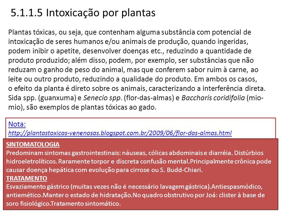 5.1.1.5 Intoxicação por plantas Plantas tóxicas, ou seja, que contenham alguma substância com potencial de intoxicação de seres humanos e/ou animais d