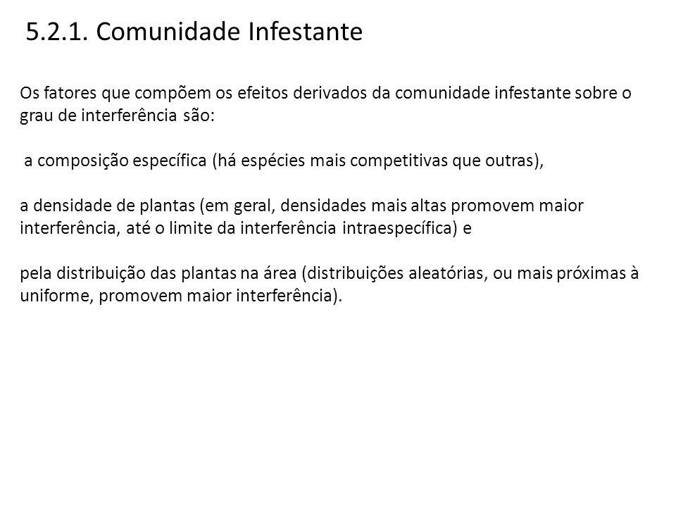5.2.1. Comunidade Infestante Os fatores que compõem os efeitos derivados da comunidade infestante sobre o grau de interferência são: a composição espe