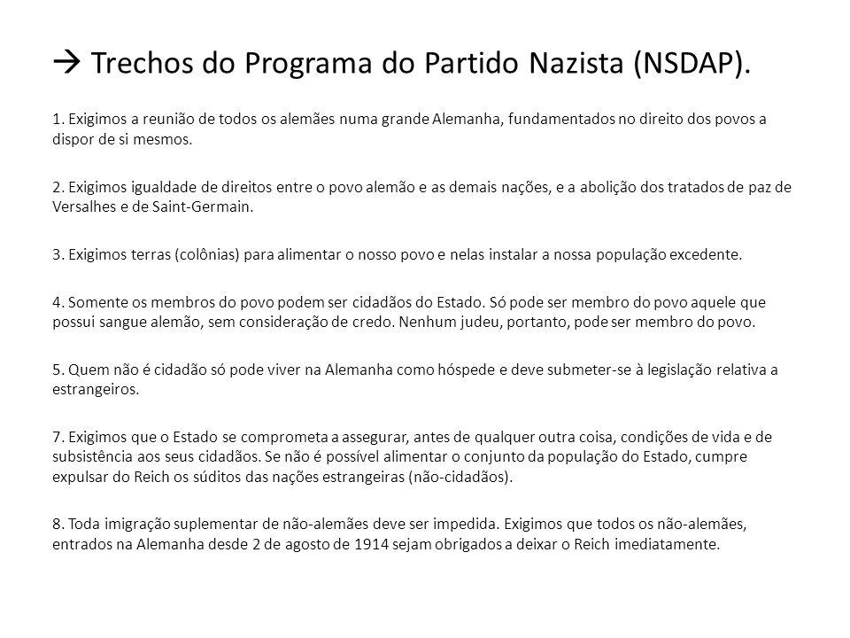 Trechos do Programa do Partido Nazista (NSDAP).1.