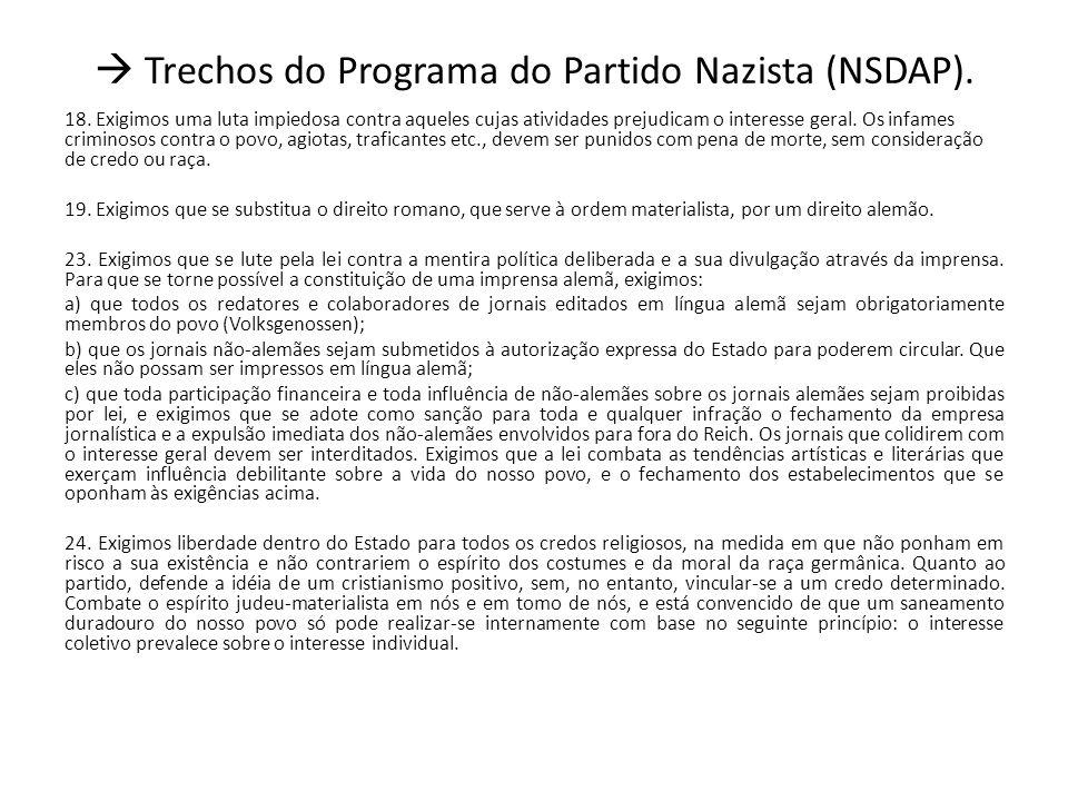Trechos do Programa do Partido Nazista (NSDAP).18.