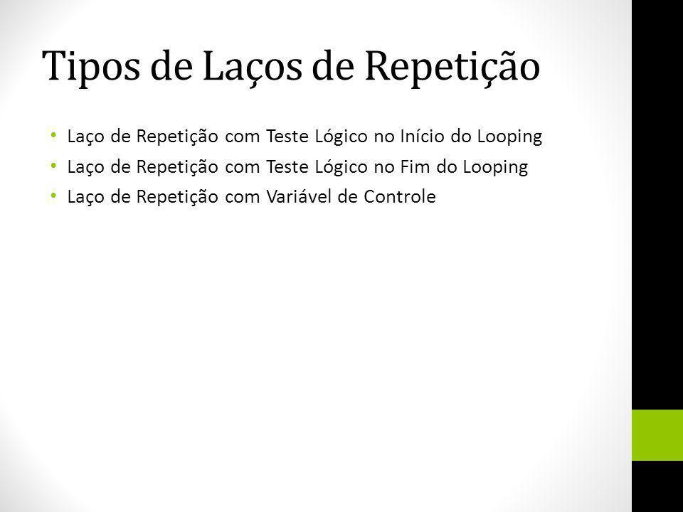 Tipos de Laços de Repetição Laço de Repetição com Teste Lógico no Início do Looping Laço de Repetição com Teste Lógico no Fim do Looping Laço de Repet