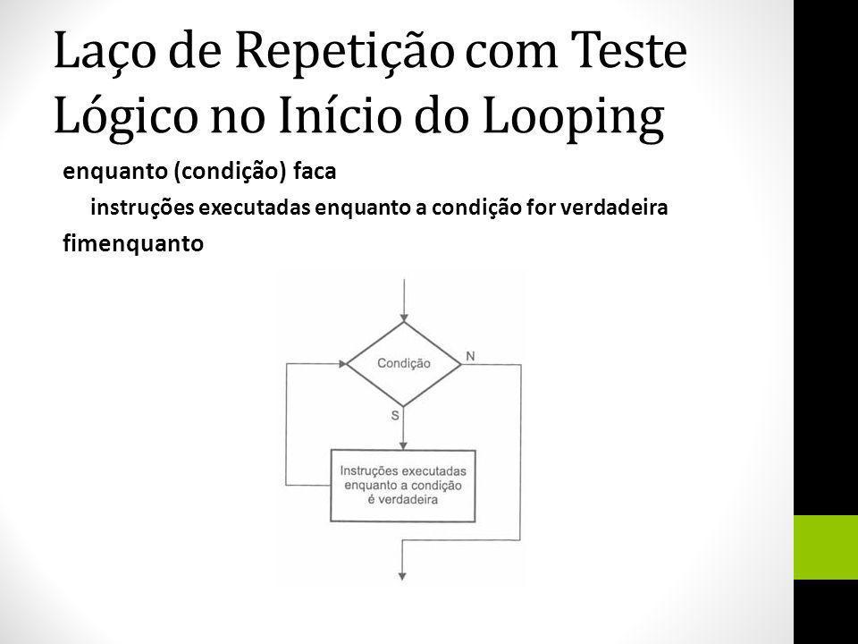 Laço de Repetição com Teste Lógico no Início do Looping enquanto (condição) faca instruções executadas enquanto a condição for verdadeira fimenquanto