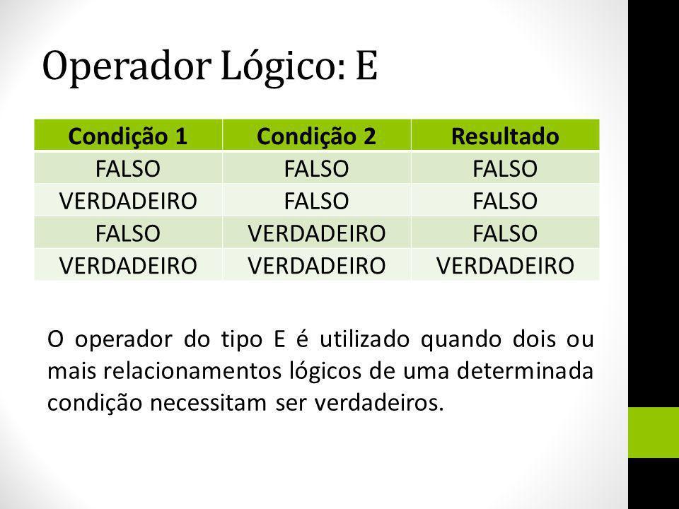 Operador Lógico: E Condição 1Condição 2Resultado FALSO VERDADEIROFALSO VERDADEIROFALSO VERDADEIRO O operador do tipo E é utilizado quando dois ou mais