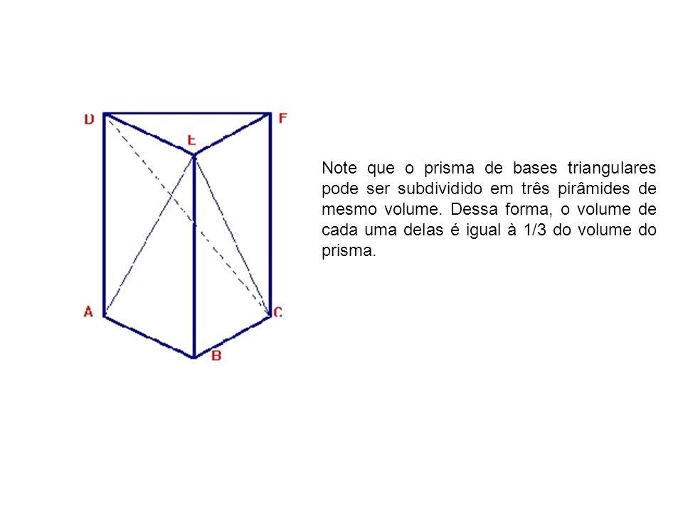 Note que o prisma de bases triangulares pode ser subdividido em três pirâmides de mesmo volume. Dessa forma, o volume de cada uma delas é igual à 1/3