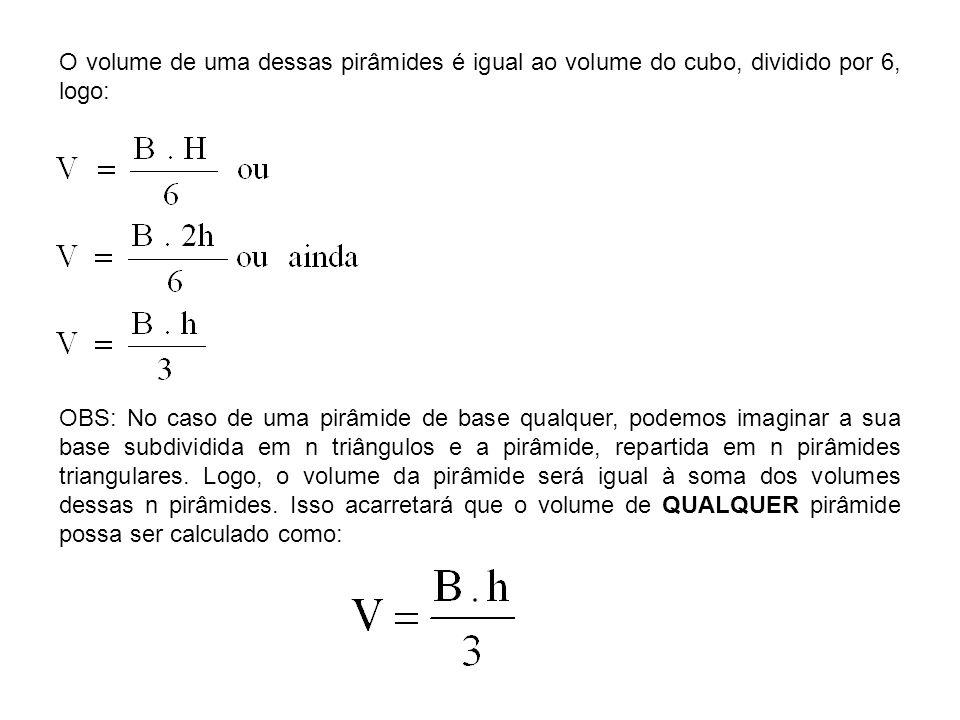 O volume de uma dessas pirâmides é igual ao volume do cubo, dividido por 6, logo: OBS: No caso de uma pirâmide de base qualquer, podemos imaginar a su