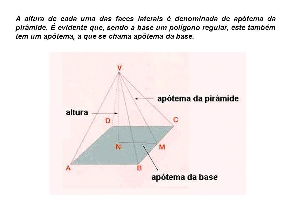 A altura de cada uma das faces laterais é denominada de apótema da pirâmide. É evidente que, sendo a base um polígono regular, este também tem um apót