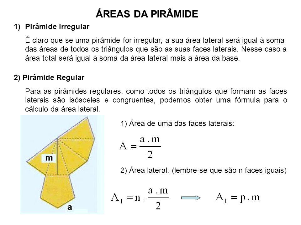 ÁREAS DA PIRÂMIDE 1)Pirâmide Irregular É claro que se uma pirâmide for irregular, a sua área lateral será igual à soma das áreas de todos os triângulos que são as suas faces laterais.