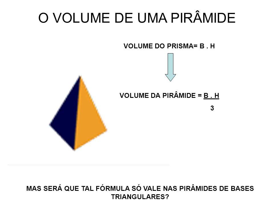 O VOLUME DE UMA PIRÂMIDE VOLUME DO PRISMA= B. H VOLUME DA PIRÂMIDE = B. H 3 MAS SERÁ QUE TAL FÓRMULA SÓ VALE NAS PIRÂMIDES DE BASES TRIANGULARES?