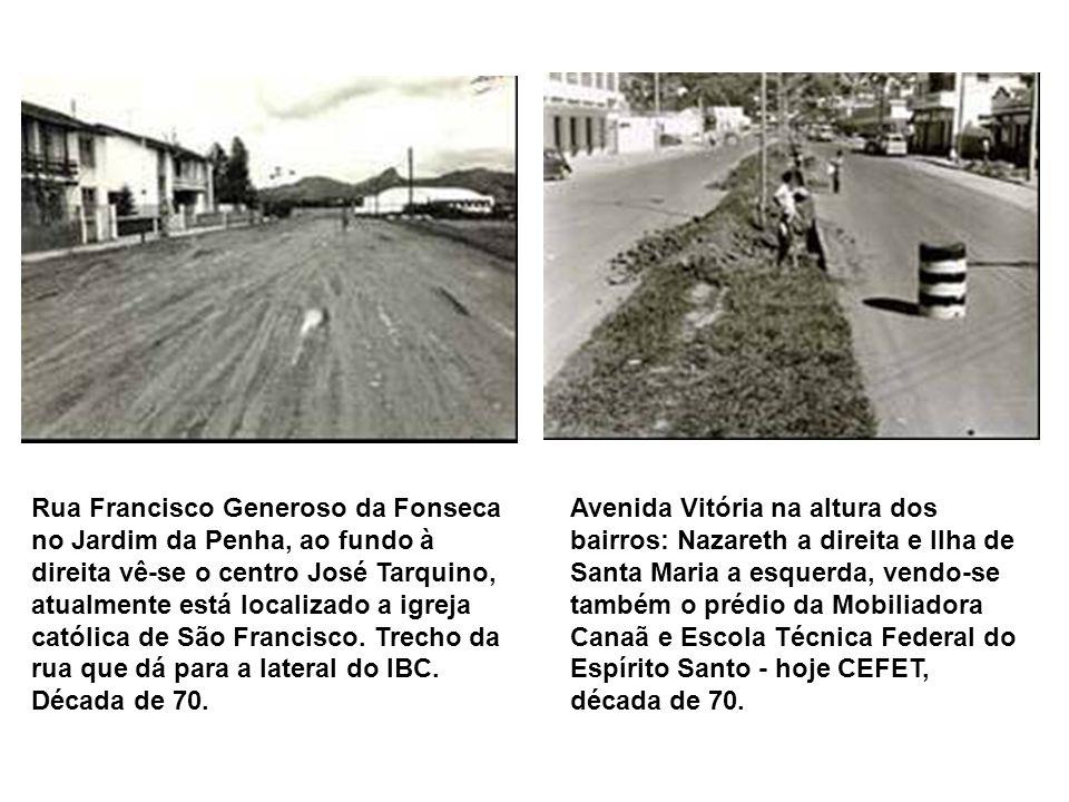 Obra do aterro da Condusa, ao fundo vê-se o Convento da Penha e o Morro do Moreno, entre eles a falha onde hoje é a 3ª ponte, década de 60. Trecho fin