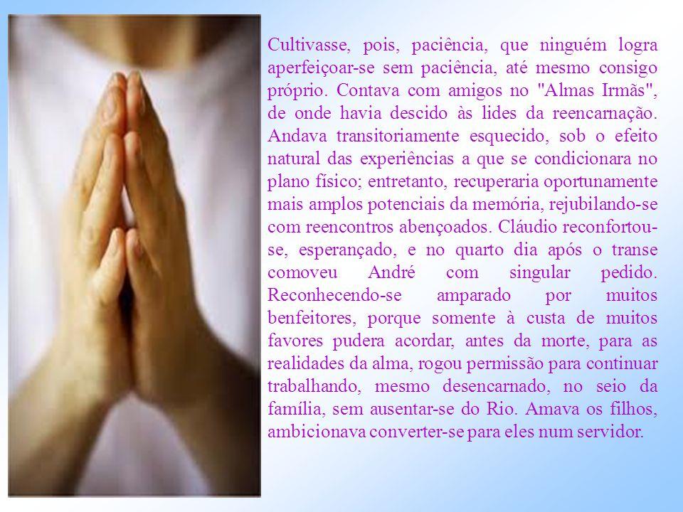 No plano espiritual Recolhido a uma organização assistencial vinculada aos serviços desenvolvidos por André Luiz, nas adjacências do Rio, Cláudio refa