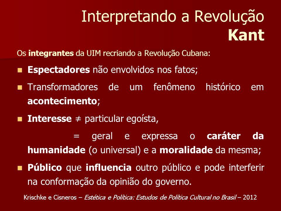 Interpretando a Revolução Kant Os integrantes da UIM recriando a Revolução Cubana: Espectadores não envolvidos nos fatos; Transformadores de um fenôme