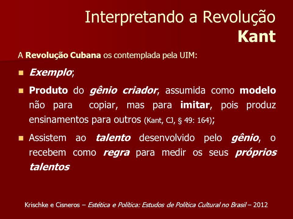 Interpretando a Revolução Kant A Revolução Cubana os contemplada pela UIM: Exemplo; Produto do gênio criador, assumida como modelo não para copiar, mas para imitar, pois produz ensinamentos para outros (Kant, CJ, § 49: 164) ; Assistem ao talento desenvolvido pelo gênio, o recebem como regra para medir os seus próprios talentos Krischke e Cisneros – Estética e Política: Estudos de Política Cultural no Brasil – 2012